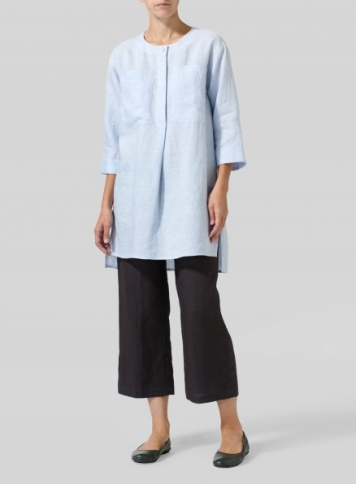 Light Sky Blue Linen Chest Pocket Tunic