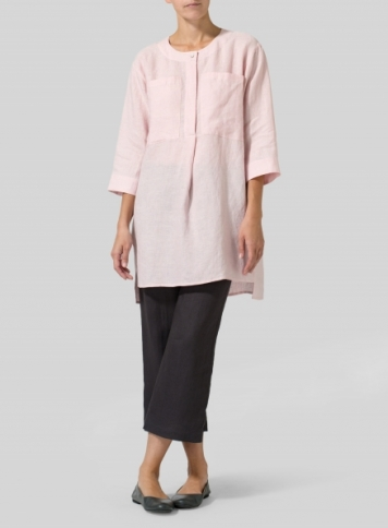Baby Pink Linen Chest Pocket Tunic