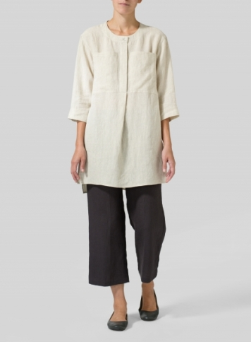 Oat Linen Chest Pocket Tunic