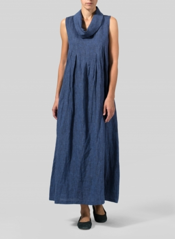 Cobalt Blue Linen Funnel Neck Long Dress