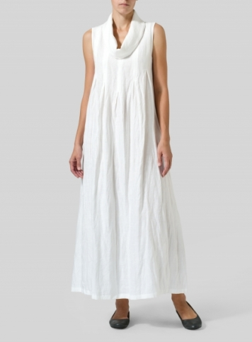 White Linen Funnel Neck Long Dress