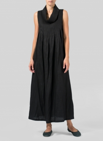 Black Linen Funnel Neck Long Dress