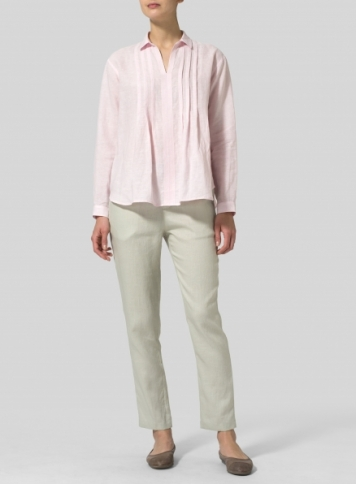 Pink Linen Front Pleated Shirt