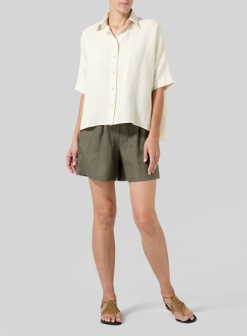Dark Taupe Linen Shorts Set