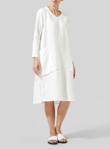 White Linen Long Sleeve Heart Neck Tunic