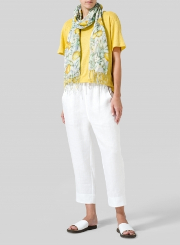 Yellow Linen Jersey Top Set