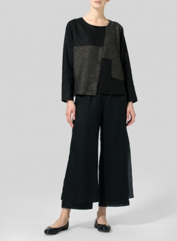Brown Black Stripe/Black Linen Patchwork Long Sleeves Top