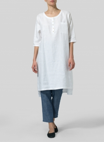 White Linen Slip On Straight Hem Tunic