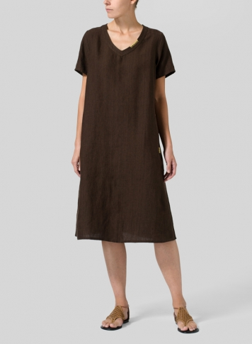 Dark Brown Heavy Linen Short-Sleeve Heart-Neck Dress
