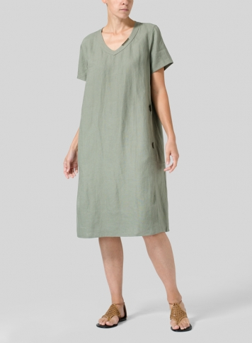 Dark Khaki Gray Heavy Linen Short-Sleeve Heart-Neck Dress