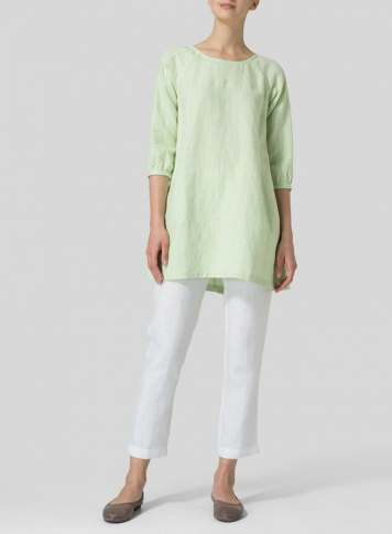 Two Tone Light Green Linen Elbow Sleeve Tunic