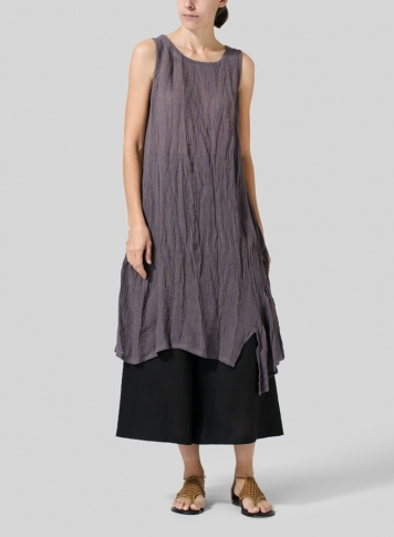 Dim Gray Gauze Linen Long Vest