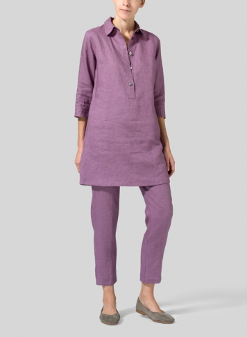 Purple Linen Straight Fit Shirt Collar Tunic