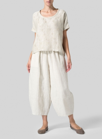Oat Linen Lantern Ankle Pants Set