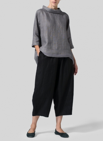 Black Linen Lantern Ankle Pants Set