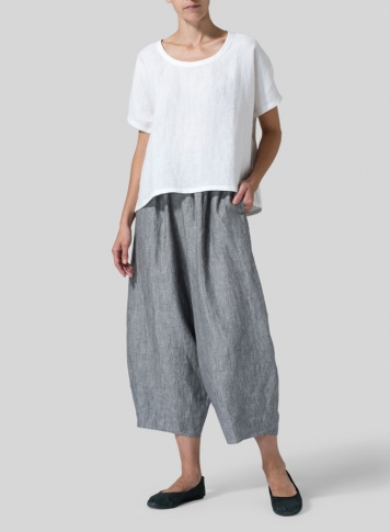 Two Tone Gray Linen Lantern Ankle Pants Set