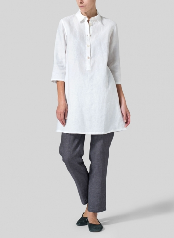 White Linen Straight Fit Shirt Collar Tunic