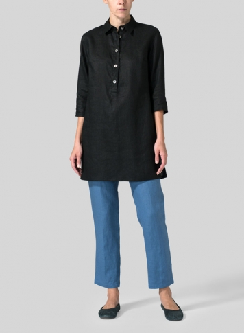 Black Linen Straight Fit Shirt Collar Tunic
