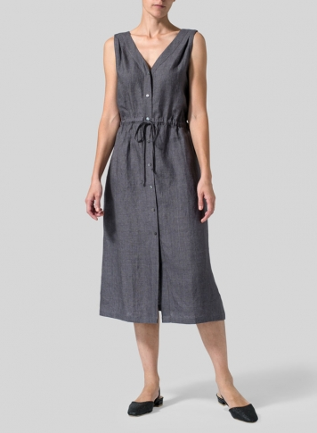 Charcoal Gray Linen Jumper Skirt