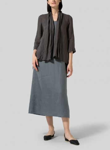 Dark Charcoal Gauze Linen Shawl Collar Jacket With Dress