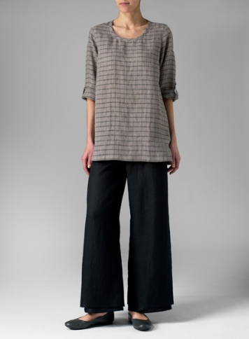 Linen Round Neckline Checked Long Blouse With Double Layers Pants Set