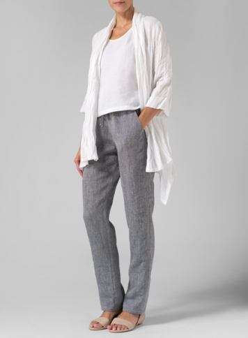 Linen Open Front Jacket With Casual Ankle Length Pant Set