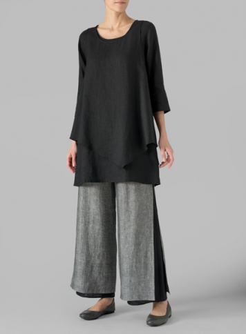 Linen Black Double-Layer Wrap Top