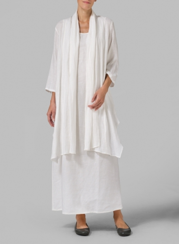 White Linen Long Shawl-Collar Over Jacket