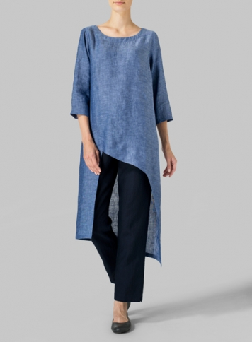 Azure Blue Linen Asymmetrical Tunic Set