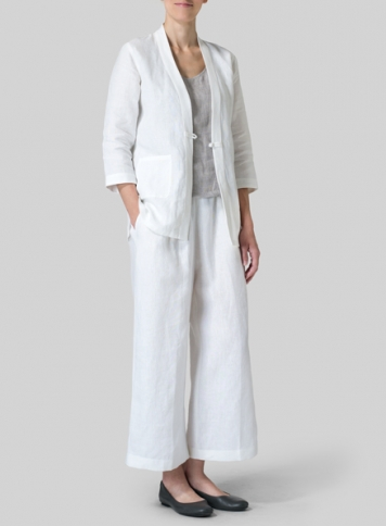 White Linen Handmade Knot Button Tapered Jacket