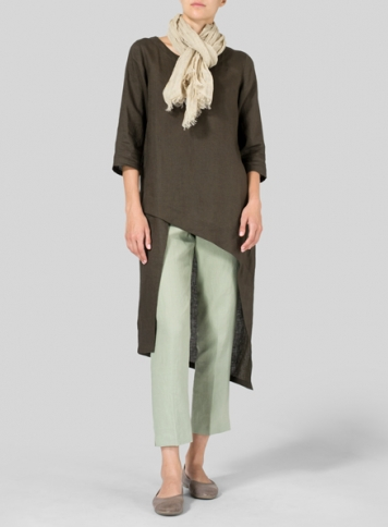 Olive Brown Linen Asymmetrical Tunic