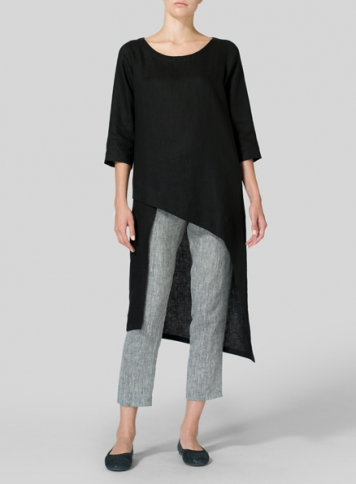 Black Linen Asymmetrical Tunic