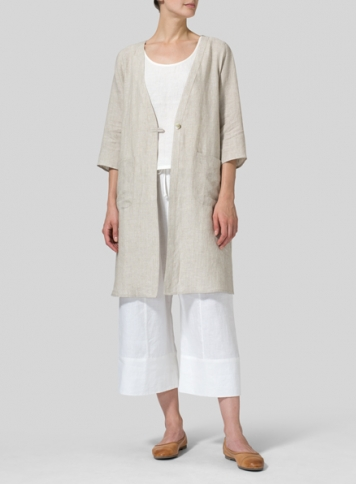 Oat Linen Single-Button Oversized Jacket