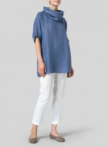 Soft Blue Weave Linen Turtleneck Tunic