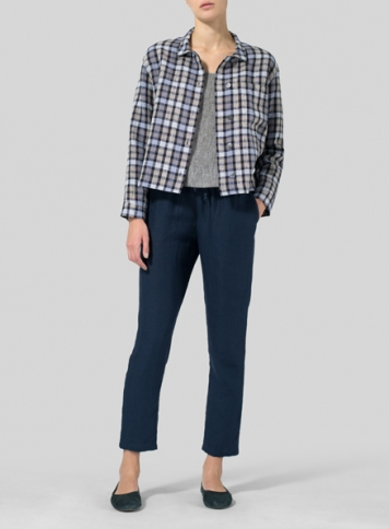 Checker Linen Cropped Shirt Jacket with Pockets