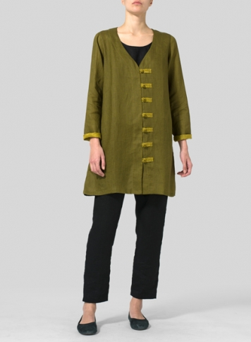 Two Tone Olive Yellow Linen Handmade Knot Buttons Top
