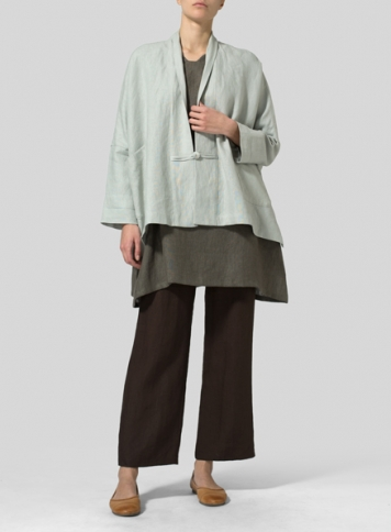 Light Grayish-green Linen Kimono Jacket