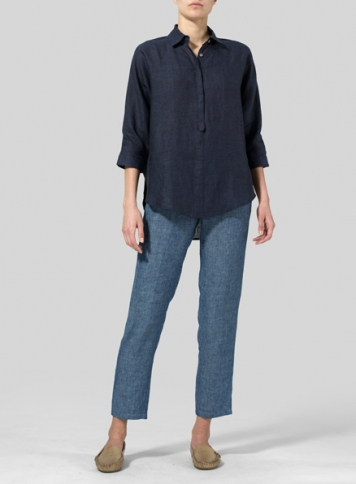 Dark Denim Linen Half-Button Tunic
