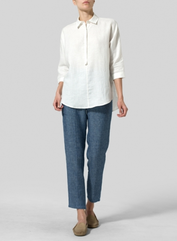 White Linen Half-Button Tunic
