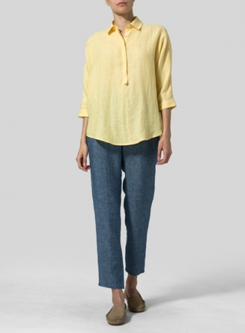 Soft Yellow Linen Half-Button Tunic