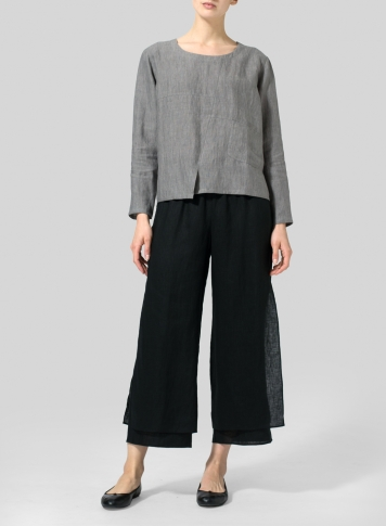 Soft Gray Linen Patchwork Long Sleeves Top