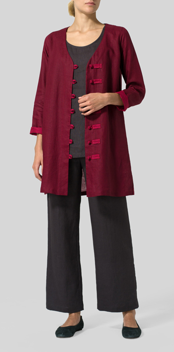Burgundy Red Two Tone Linen Handmade Knot Buttons Top