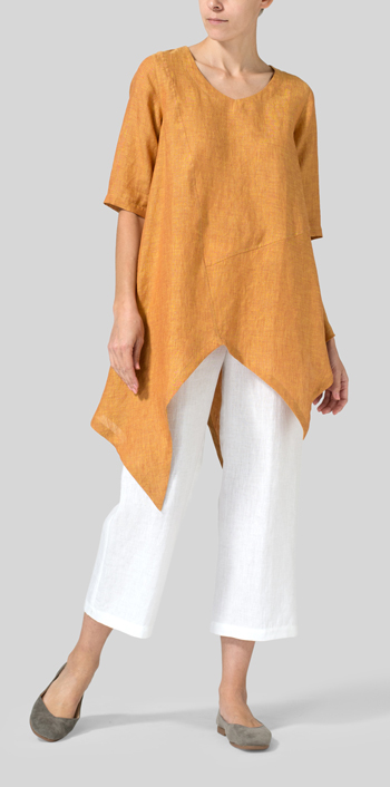 8d3e1de212e Golden Brown Linen Asymmetrical Hem Tunic. DISCOVER THE LOOK · Linen Wrap  Dress