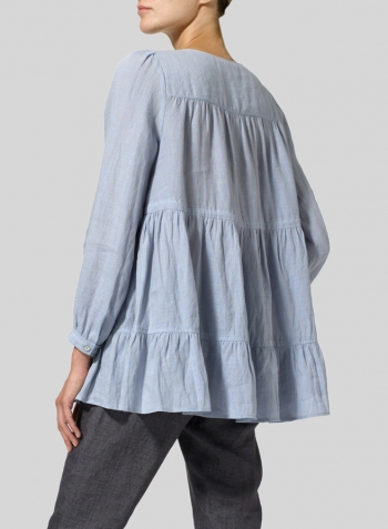 Light Pale Blue Linen Tiered Pullover Top