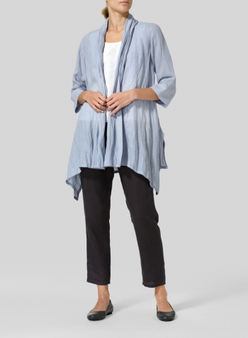 Light Pale Blue Linen Open Front Jacket Set