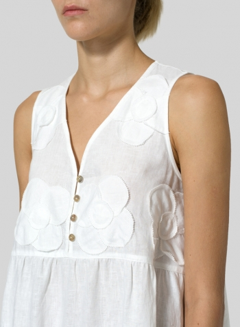 White Linen Sleeveless A-line Dress