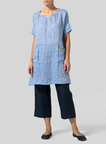 Blue White Double Cloth Linen Sweetheart Neckline S/S Tunics
