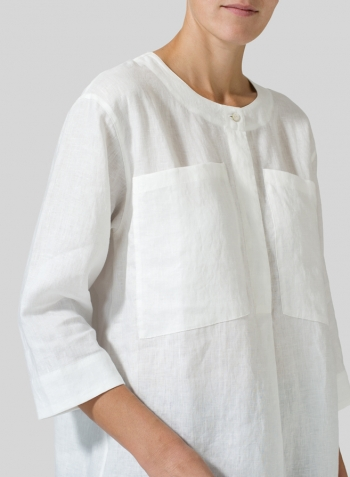 White Linen Chest Pocket Tunic