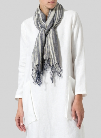 Linen Long Sleeve Heart Neck Dress with Scarf
