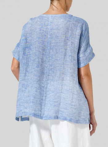 Blue White Double Cloth Linen Doublecloth Short Sleeve Top
